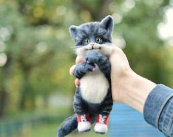 Little kitten Little toy Gift for her Cute cat Grey kitten Cute kitten Gift cat Needle wool cat Cat doll Kitten doll Grey cat Animals