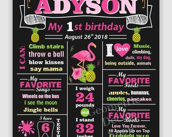 Flamingo / Pineapple / Luau / Hawaiian /Birthday / Chalkboard / Sign / Printable / Girl / 1st / Board / Poster / any age / pink / CFlamingo1
