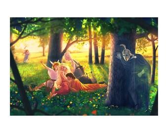 """Wildflowers in a Wheatfield - 12"""" x 18"""" Art Print"""