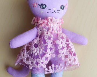 "Handmade cloth doll, Little kitty Cat, Purple Flowery, about 8"" tall by Liberty Lavender Dolls. Hand Dyed, OOAK."