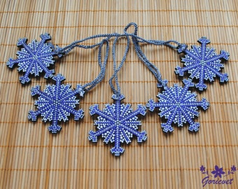 Purple Christmas ornaments Snowflake decor Hand Painted decoration Christmas decor Wood ornaments handmade Winter gift for friends Xmas gift