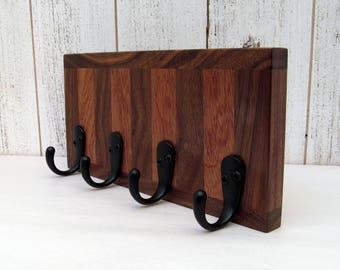 Walnut and mahogany key rack, hanging key organizer, wooden key rack, leash  hanger