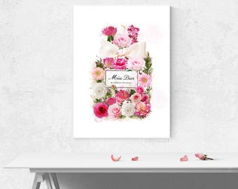 Floral fashion poster. Miss blooming perfume poster. Printable perfume bottle. Floral poster.  Instant download