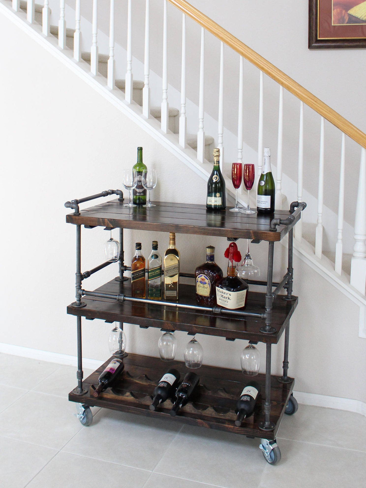 rustic bar cart industrial pipe wood bar unique bars. Black Bedroom Furniture Sets. Home Design Ideas