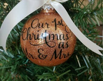 Personalized Our First Christmas as Mr. and Mrs. Ornament