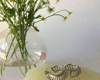 1990s Silver Cage Hoop Earrings