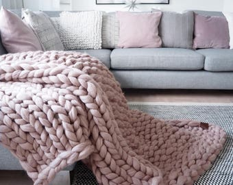 Chunky knit blanket, throw - wrap, 100% merino wool, extra warm chunky blanket, arm knitted throw blanket