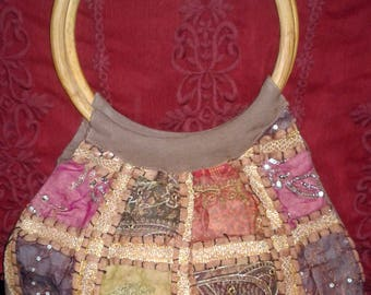 Gorgeous vintage brown patchwork banjara festival gypsy hobo bag with round wooden handles - FREE U.S./DOMESTIC SHIPPING