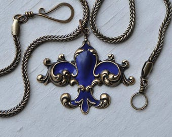 Royal Blue Enameled Fleur de Lis Pendant on 4 mm Foxtail Chain with Handmade Hook & Eye French Style