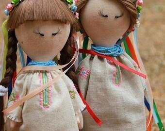 Mariika and Olenka - Ukrainian girls  Couple doll  Fabric doll  Handmade doll Baby doll Art doll Collectable doll Teenager doll by Olox