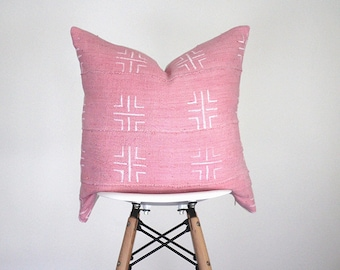 19 x 19 Pink with White Authentic African Mud Cloth Pillow Cover, Baule Pillow Cover, Boho Pillow Cover