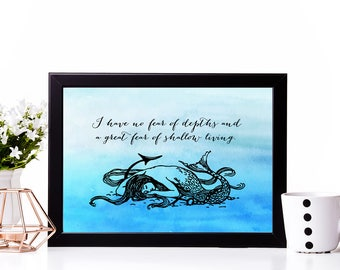 Printable Anais Nin Quote | Fear of shallow living | Literary Quote | Instant Download | Literary Art | The Four Chambered Heart | Mermaid