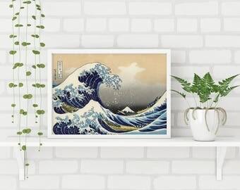 Great Wave Off Kanagawa Print, The Great Wave Print, Mount Fuji Japanese Poster, Oriental Wall Art, Japanese Wave Print, Japanese Art Print