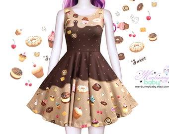 Kawaii chocolate - cute skater dress, melty chocolate skater dress, cakes dress, sweet treats dress, fairy kei, plus sizes dress -  SD28