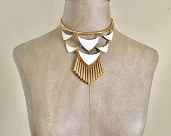 Asher - White and Gold Statement Necklace-Choker