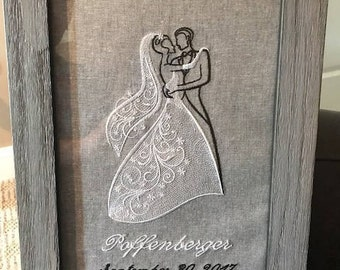Wedding custom embroidery gift framed unframed pillow wall hanging