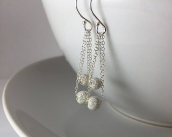 Sterling Silver Dangle Bead Earrings Stardust Glitter Earrings / Sparkle Earrings
