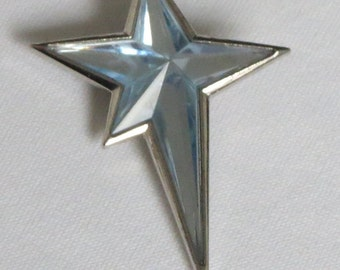 Vintage French Thierry Mugler Paris Angel brooch or pendant. Light blue faceted silver star.