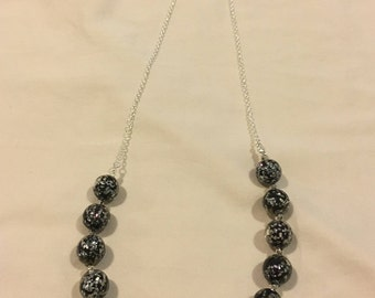 Vintage-Style Opera-Length Necklace with Black and Iridescent Beads