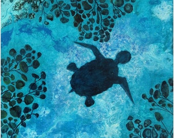 Abstract Fluid Acrylic Painting, unique, embellished with the silhouette of a turtle