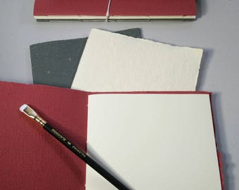 Set of 3 handmade paper journals | red, white, green | fountain pen ink | quick dry | Italian paper | handmade paper | made in canada |