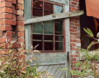 Abandoned Building Photography - Barred Wooden Door Wall Art Photo - Old Empty Red Brick Factory Photo - Broken Windows - Overgrown Desolate