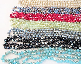 Knotted Crystal Necklace, 8mm Crystal Beads, Double Wrap, Extra Long, Colorful Long Wrap Necklace, 60 Inch Necklace, Pick Your Color - hkn