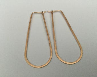 "Oval Gold Hoop Earrings * Hammered 14K Yellow or Rose Gold Hoops * 2"" Modern Minimalist Everyday Drop Earrings * Gift for Her * Pink Gold"