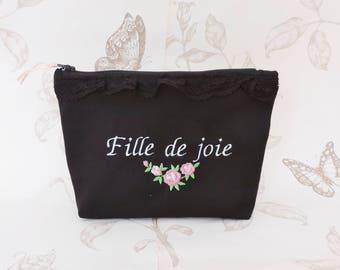 Pochette zipée en tissu noir à pois et fleurie avec broderie Fille de joie