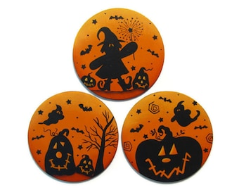 Halloween Silhouette Pumpkin Witch Ghost Fridge Magnets or Ornaments, Handpainted Wood, Hand Painted Refrigerator Magnets, Tole Painting