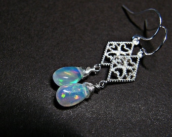 Opal earrings for women, opal jewellery, Ethiopian opal earrings, opal jewelry, opal drop earrings, Welo opal PETITE earrings in 925 silver