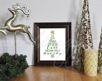 DIGITAL DOWNLOAD oh christmas tree svg - christmas svg - Christmas Tree svg - Christmas carol png - silhouette - Jpeg -Pdf - Printable Tree