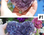 Amethyst Crystal Heart Crown Chakra Kit | Amethyst Geode Heart | Amethyst Cluster Heart | Amethyst Heart Reiki Healing Addiction Meditation