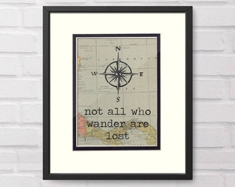 Wanderlust - Not All Who Wander Are Lost, Compass Rose over Vintage Map - Graduation Gift, Retirement Gift, Travel Gift, Moving Gift, Map