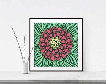 Floral Wall Art, Giclee Print, Home Decor, Illustration Print, Art Gift, Modern Wall Art, Kids Room Decor, Large Art Print