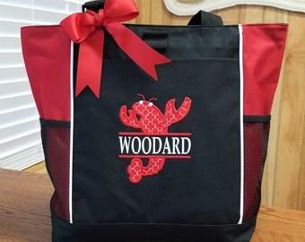 Personalized Tote Bag Louisiana Cajun Crawfish Monogrammed