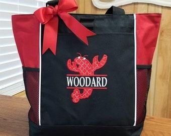 Personalized Tote Bag Louisiana Cajun Crawfish Monogrammed Gift Travel Birthday