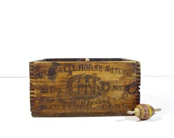 Vintage Wood Advertising Box / Capewell Horse Nails Small Wooden Crate / Industrial Decor