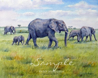 Custom animal painting from photo, original watercolor oil art commission, bird horse cow elephant dolphin artwork gift idea by Janet Zeh