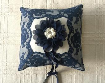 Navy ring bearer pillow natural linen and lace wedding ring bearer pillow. & Linen ring pillow   Etsy pillowsntoast.com