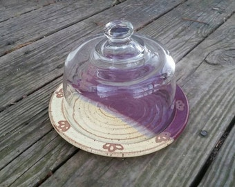 Cheese Dish, Snack Platter with Glass Dome, Pottery Plate and Glass Cheese Dome