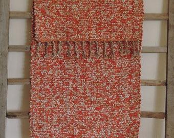 "Hand Woven Orange Autumn Patchwork Table Runner - 14"" x 30"""
