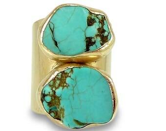 Gold Turquoise Ring, Cuff Ring, Raw Gemstone Ring, Gold Band Ring, Turquoise Ring Wide Band Gold Ring,Statement Turquoise ring, Turquoise.