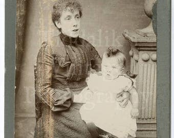 Cabinet Card Photo - Victorian Smart Woman Mother, Baby on Lap Portrait - Brook of Leeds England - Antique Photograph