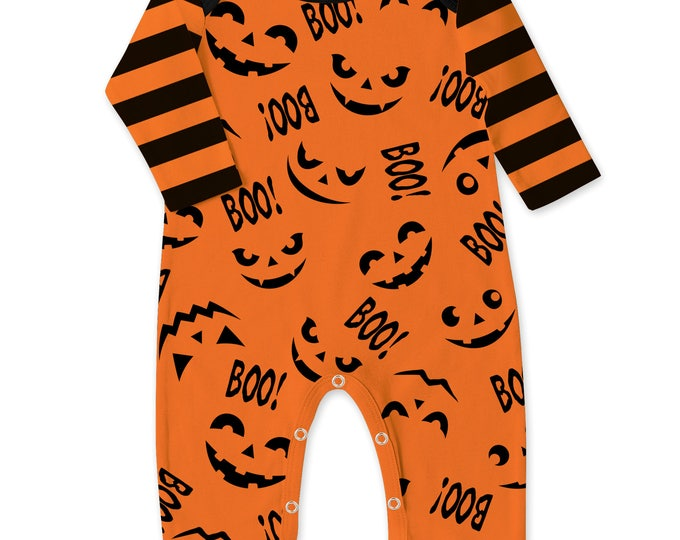 SALE!  Baby Halloween Romper Black and Orange Pumpkin, Baby Unisex Costume, Jack O' Lantern, Boo, Tesababe