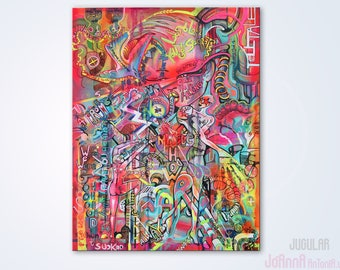 LARGE ORIGINAL ART, Love art painting, graffiti art canvas, street art, Bright art, Abstract canvas, Female Nude Painting, woman -Jojoe*