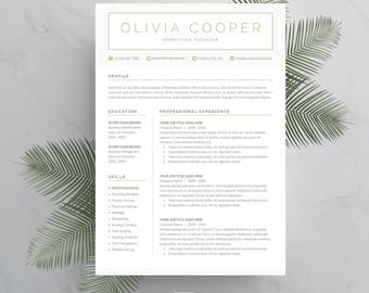 Resume Template 4 page | CV Template + Cover Letter for MS Word | Instant Digital Download | 'Olivia'