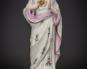 """RESERVED for Lester Long: 2 statues No1 - 16"""" Sacred Heart of Jesus Statue and No2 - 17"""" Immaculate Heart of Mary Statue"""