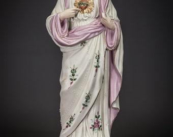 "16"" Antique Sacred Heart of Jesus Christ Bisque Porcelain Statue German Figure 5"