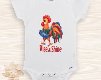 Rooster Onesie®, Farm Baby Clothes, Rise and Shine, Cute Baby Onesie, Baby Shower Gif, Farm Baby Bodysuit, Chicken Shirt, Rooster Shirt